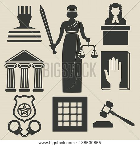 law and justice icons set. vector illustration - eps 8