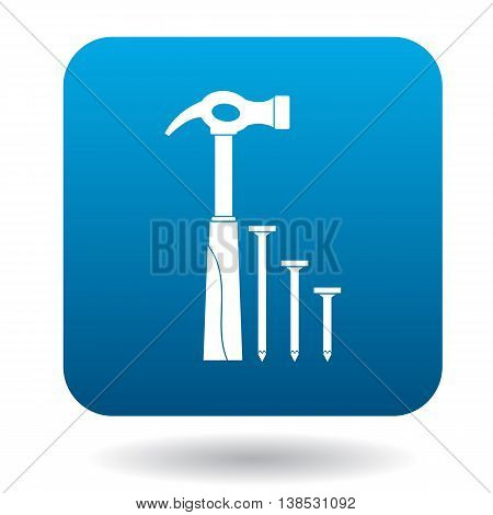 Hammer and nails icon in simple style on a white background
