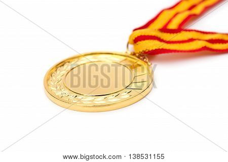 gold medal on a white background close up