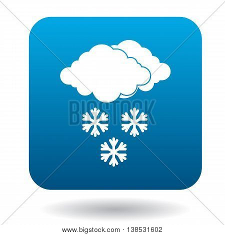 Clouds with snowflakes icon in simple style on a white background