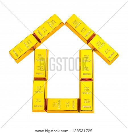 gold bars shape like a house on white with clipping path