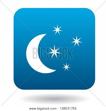 Moon and stars icon in simple style on a white background