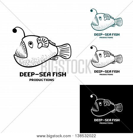 Deep sea fish logo. Vector illustration isolated on white. Doodle freehand icon. Scetch logo for animation studio
