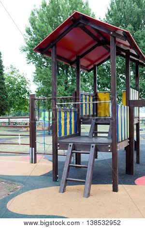 Traditional playground in a schoolyard without child
