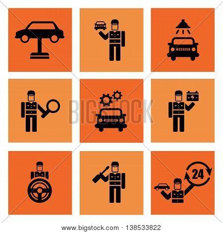Auto service car auto mechanic repair icons flat set isolated illustration