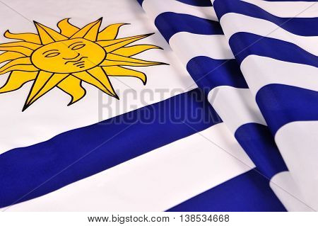 Flag of Uruguay. Close-up of the national flag of Uruguay.