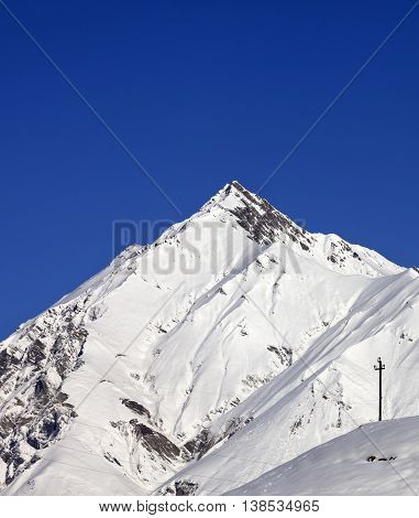 Snowy Mountains And Blue Clear Sky In Nice Day