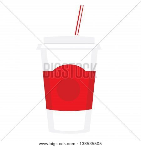 Vector illustration drink can with straw in flat style. Paper cup with soda. Fast food drink icon