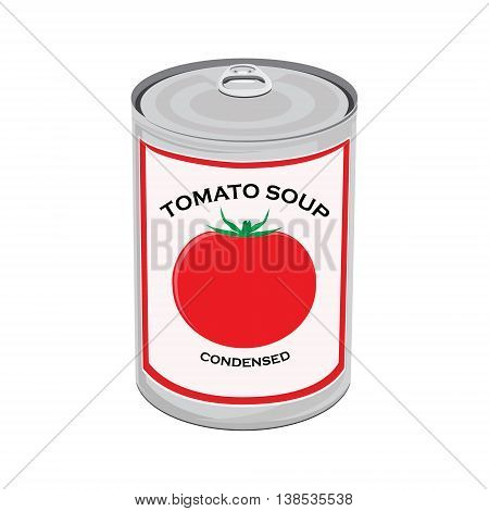 Vector illustration can of tomato soup isolated on white background. Canned food
