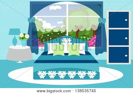 Bedroom interior, wardrobe, bed, table, window, lamp, branches, carpet, curtains , vector