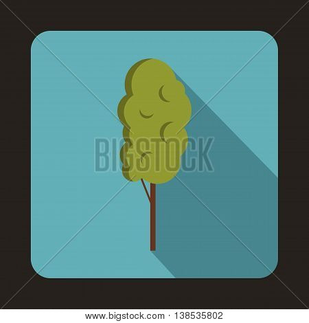 Tall wood icon in flat style with long shadow. Plants and nature symbol