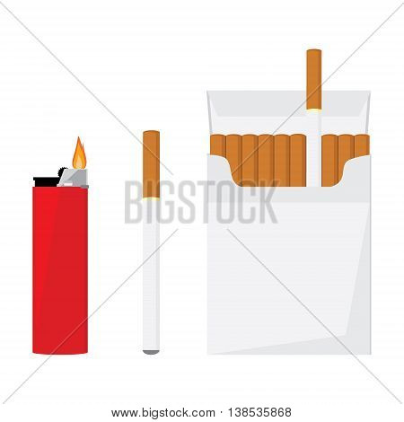 Opened cigarette pack with cigarettes cigarette and red pocket lighter with fire vector illustration. Cigarette box. Cigarette packet.