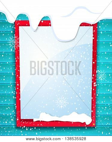 Rectangular window outside house in winter, falling snow, winter is coming, vector illustration