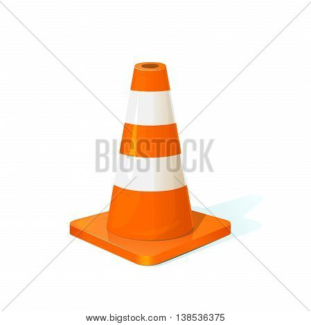 Traffic cone classical form with reflective orange and white stripes, vector illustration isolated on background