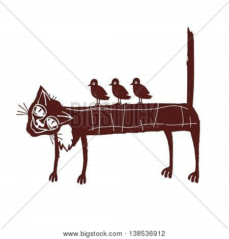 An elderly cat with birds on back. The metaphor of tolerance