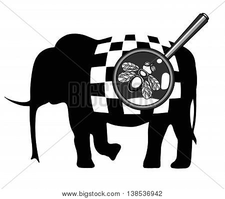 Black and white illustration with the image of a fly on an elephant with a checkerboard pattern.