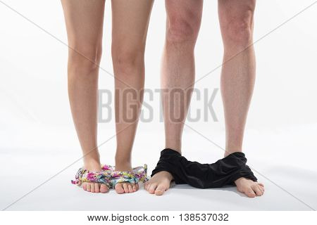 Legs Of A Couple, Isolated With Panties Off