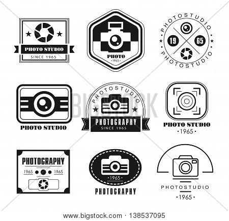 collection of photography logo templates. Photocam logotypes. Photography vintage badges and icons. Modern mass media icons. Photo labels.