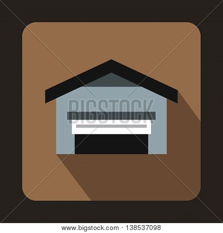Garage with roof icon in flat style with long shadow. Building symbol