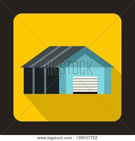 Garage with automatic gate icon in flat style with long shadow. Building symbol