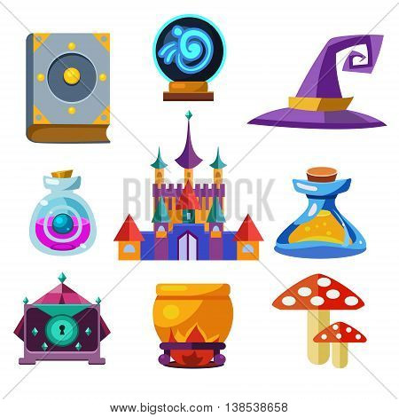 Collection of fairy tale elements, icons and illustrations