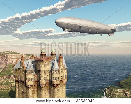 Computer generated 3D illustration with Scottish castle and airship
