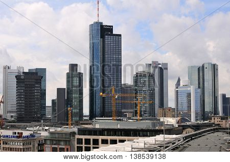 FRANKFURT, GERMANY - AUGUST 06: Skyscrapers of Frankfurt on August 06, 2012 in Frankfurt am Main. Frankfurt is the business and financial center and the fifth-largest city in Germany.