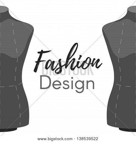 Female body Mannequin fashion design. Tailors modern cover on white background. Vector illustration cover template leaflet, flyer