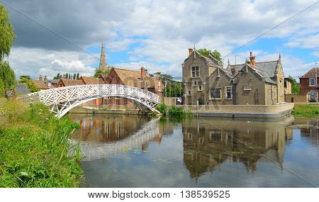 Chinese Bridge, Town Offices and the Causeway Godmanchester Cambridgeshire.