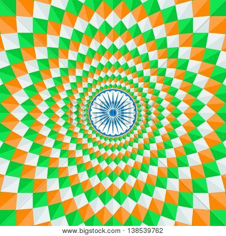Indian national flag tricolors theme background for Indian Republic day and Independence day with Ashoka wheel. 15 th of august. Vector illustration template for greeting card or web banner design