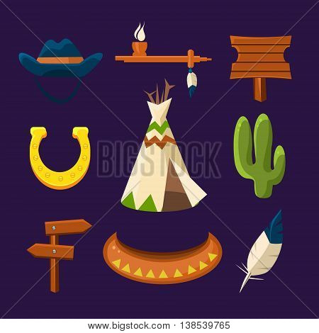 Wild west cowboy flat icons set with gun money bag hat isolated illustration