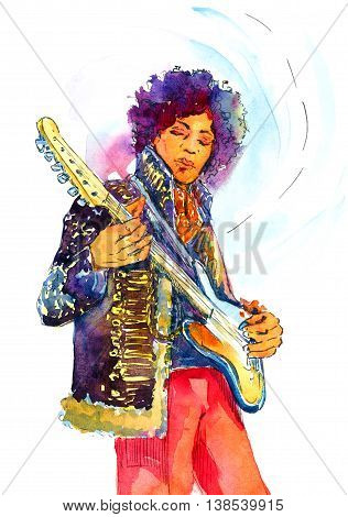 Hand Painted Watercolor Illustration Jimi Hendrix with Guitar