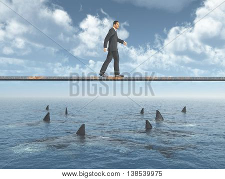 Computer generated 3D illustration with a businessman walking on a board over the ocean with great white sharks