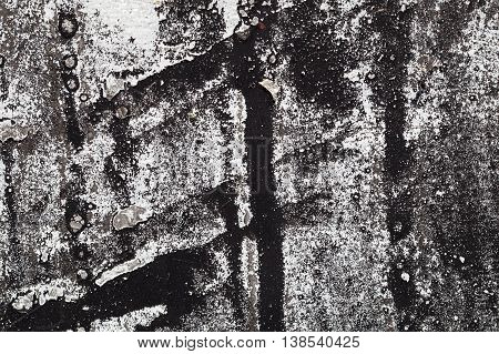Cracked Black And White Paint On Grunge Metal  - Macro 1