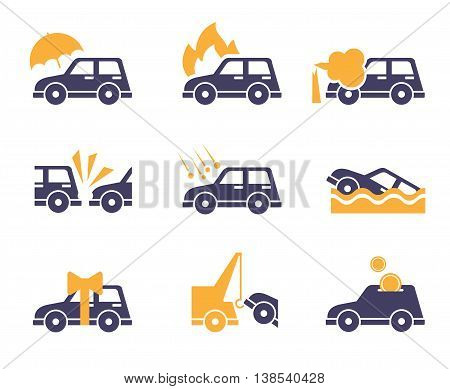 Car Insurance icons in flat color style