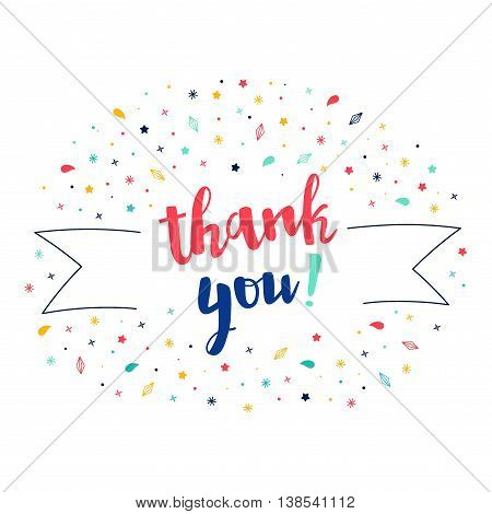 Thank you lettering with tag and stars crystals. Vector greeting card. Cute pattern