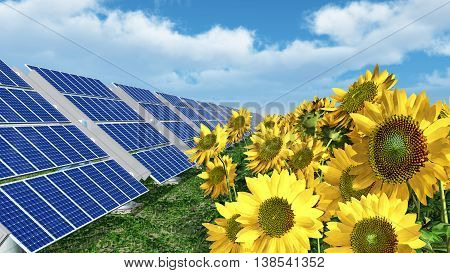 Computer generated 3D illustration with solar panels and sunflowers