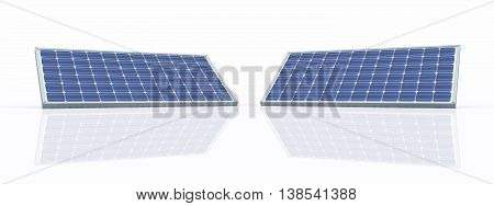Computer generated 3D illustration with solar panels against a white background