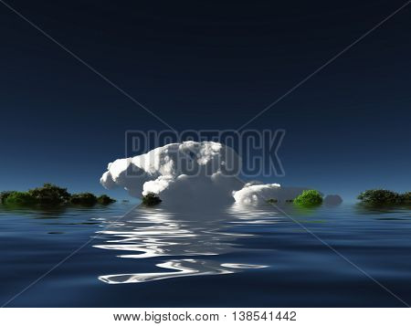 Cloud on water horizon 3D Render