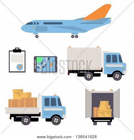 Warehouse icons flat set of storage decorative elements illustration