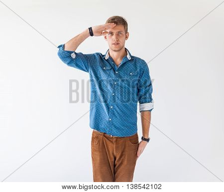 Portrait Of Young Handsome Man Saluting