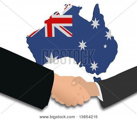 people shaking hands with Australia map flag illustration