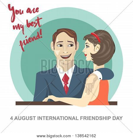 Happy friendship day card. 4 August. Best friends woman and man embracing. Digital vector image