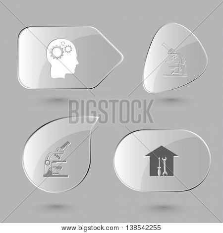 4 images: human brain, lab microscope, workshop. Tehnology set. Glass buttons on gray background. Vector icons.