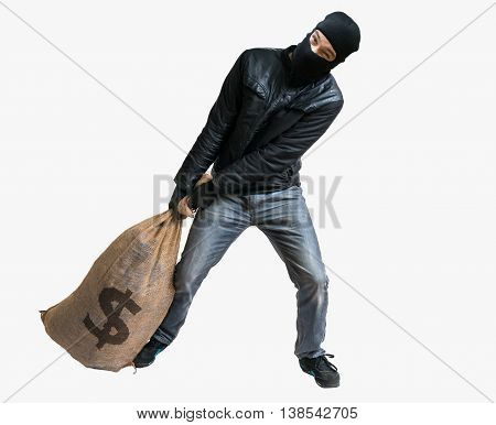 Thief Or Robber Is Pulling Loot - Heavy Bag Full Of Money. Isola