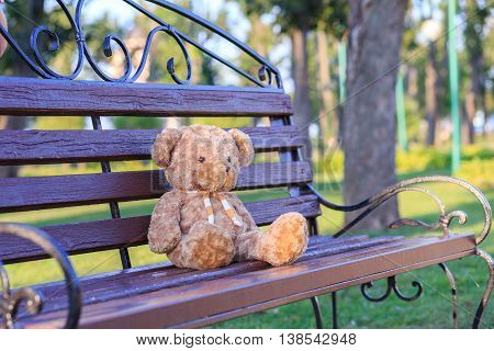 Toy on a bench, toy, childhood, bear, teddy, lonely, bench,