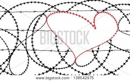 Natural heart shape (digitally coloured red) in a barbed wire fence isolated on white background. Love, freedom, peace, hope and compassion concepts.