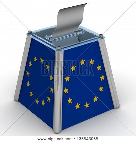 Ballot box to vote with the flag of European Union and ballot sheet is on the white surface. Isolated. 3D Illustration