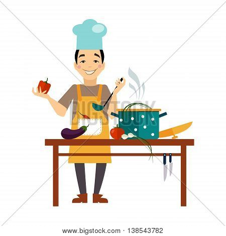 Chef cooking food Flat style illustration or icon