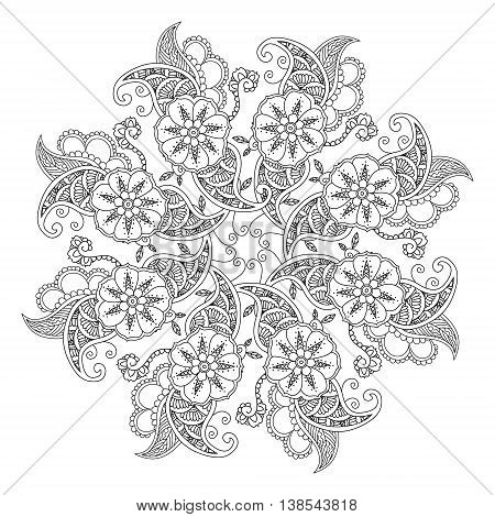 Mendie Mandala with flowers and leaves. Zenart inspired. For coloring book. Art vector illustration